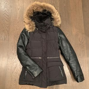 Mackage down filled leather sleeve jacket black size XS